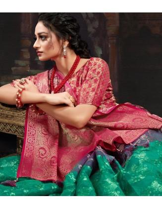 Alluring Multi Color Chanderi Jacquard Saree