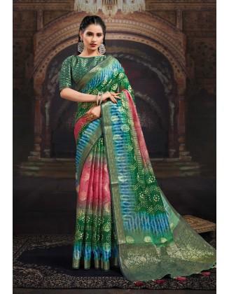 Pink And Green Chanderi Jacquard Saree