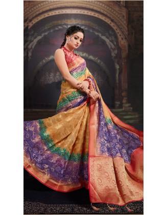 Magnificent Multi Color Chanderi Jacquard Saree