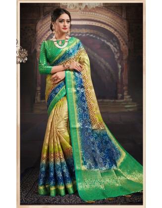 Yellow And Blue Chanderi Jacquard Saree