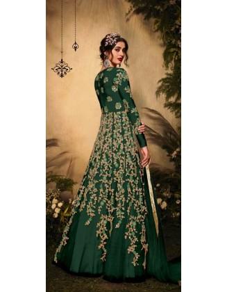 Dark Green Designer Party Wear Soft Net Gown Suit