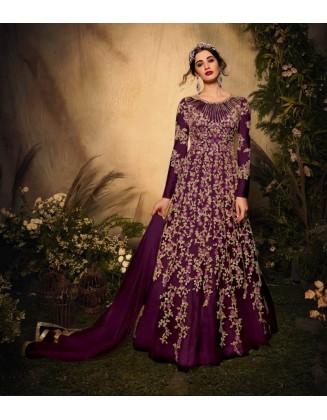Purple Designer Party Wear Soft Net Gown Suit
