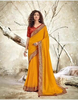 Yellow Designer Chanderi Silk Saree