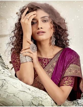 Purple Designer Chanderi Silk Saree