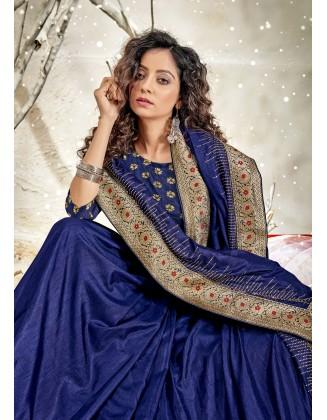 Blue Designer Chanderi Silk Saree
