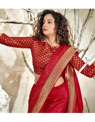Red Designer Chanderi Silk Saree