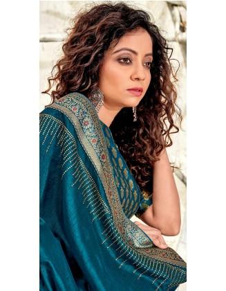 Teal Blue Designer Chanderi Silk Saree