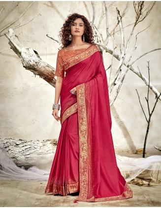 Pink Designer Chanderi Silk Saree