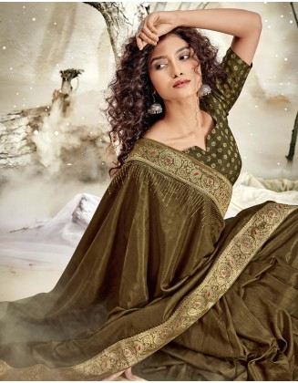 Mehndi Designer Chanderi Silk Saree