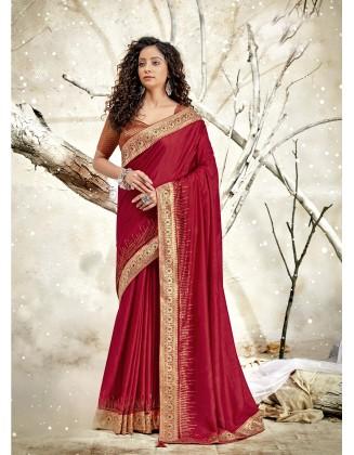 Red Designer Traditional Wear Chanderi Silk Saree