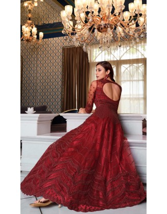 Maroon Designer Party Wear Soft Net Pakistani Anarkali Suit