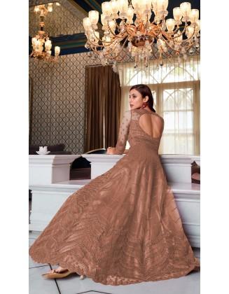 Beige Designer Party Wear Soft Net Pakistani Anarkali Suit