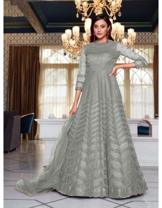 Grey Designer Party Wear Soft Net Pakistani Anarkali Suit