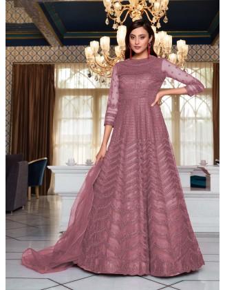 Pink Designer Party Wear Soft Net Pakistani Anarkali Suit