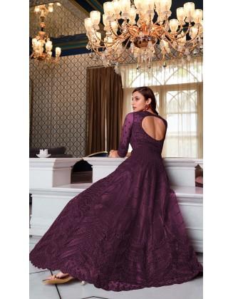 Purple Designer Party Wear Soft Net Pakistani Anarkali Suit
