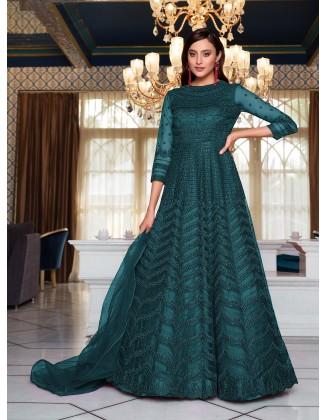 Aqua Blue Designer Party Wear Soft Net Pakistani Anarkali Suit