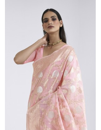 Light Pink Linen Weaving Saree