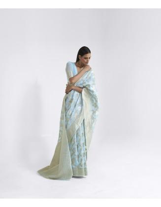 Sky Blue Linen Weaving Saree