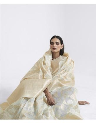 Off White Linen Weaving Saree