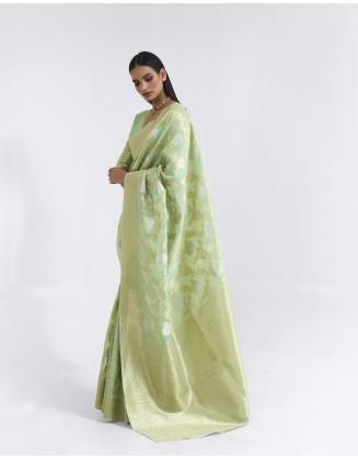Light Green Linen Weaving Saree