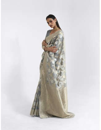 Grey Linen Weaving Saree