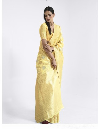 Yellow Linen Weaving Saree