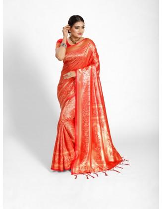 Red Tanchoi Silk Saree