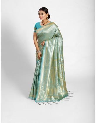 Sky Blue Tanchoi Silk Saree