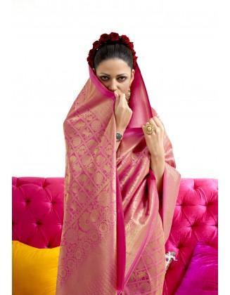 Pink Nylon Two Tone Softy Silk Saree