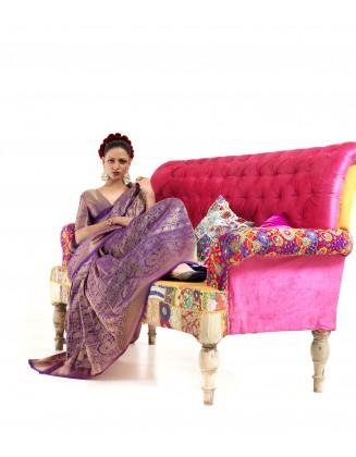 Purple Nylon Two Tone Softy Silk Saree