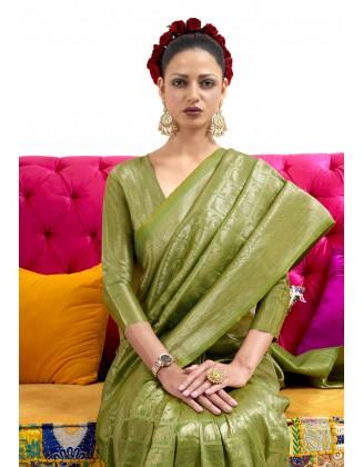 Green Nylon Two Tone Softy Silk Saree