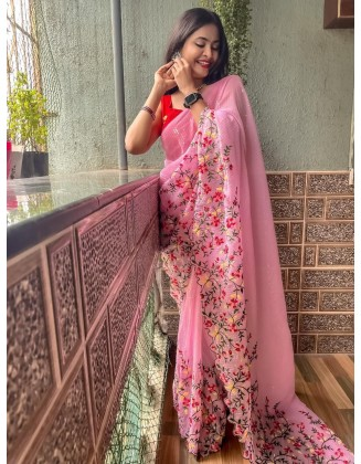 Pink Embroidered Georgette Saree With Sequins