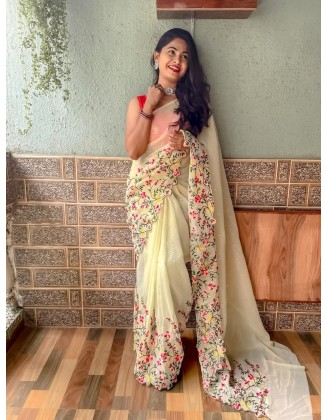 Off White Embroidered Georgette Saree With Sequins