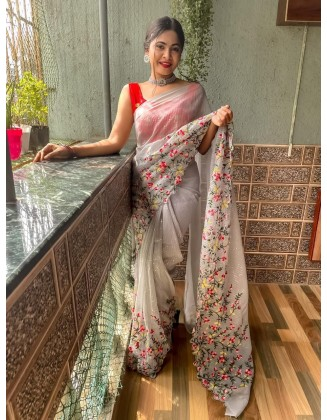 Gorgeous Embroidered Georgette Saree With Sequins