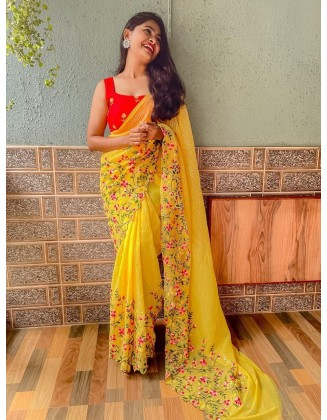Yellow Embroidered Georgette Saree With Sequins