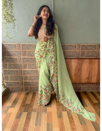 Light Green Embroidered Georgette Saree With Sequins
