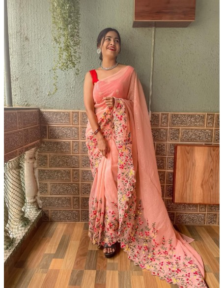 Coral Embroidered Georgette Saree With Sequins