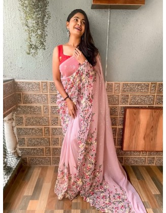 Light Pink Embroidered Georgette Saree With Sequins