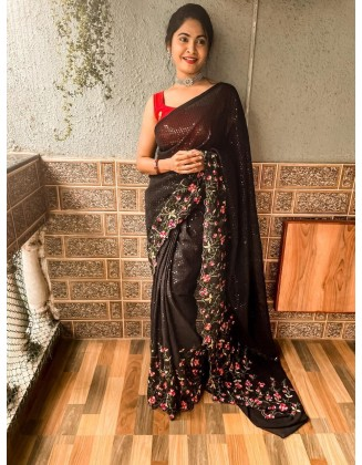 Black Embroidered Georgette Saree With Sequins