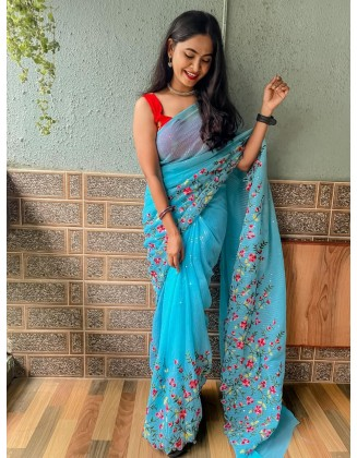Light Blue Embroidered Georgette Saree With Sequins