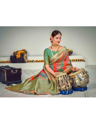 Multi Color Banarasi Zari Weaving Silk Saree
