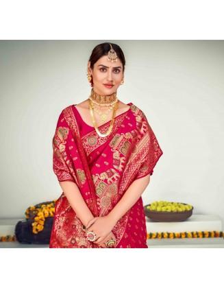 Dark Pink Banarasi Zari Weaving Silk Saree