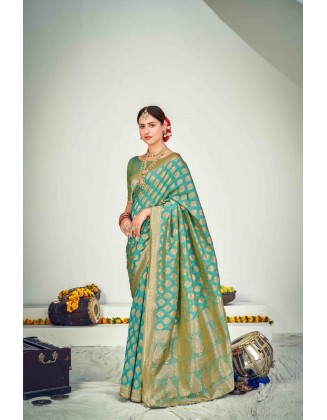 Turquoise Banarasi Zari Weaving Silk Saree