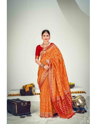 Orange Banarasi Zari Weaving Silk Saree