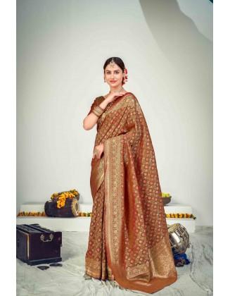 Beautiful Multi Color Banarasi Zari Weaving Silk Saree