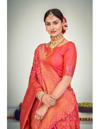 Coral Banarasi Zari Weaving Silk Saree