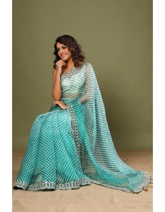 Turquoise Party wear Organza Silk Saree