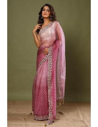 Dark Pink Party wear Organza Silk Saree
