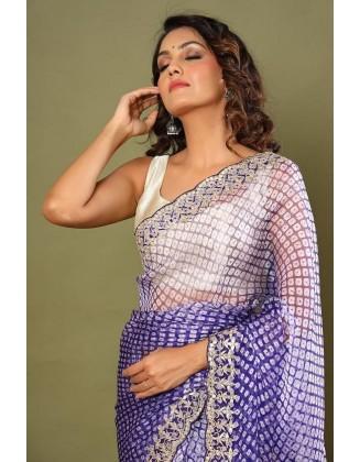 Blue Party wear Organza Silk Saree