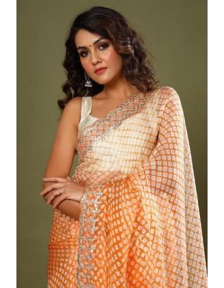 Orange Party wear Organza Silk Saree